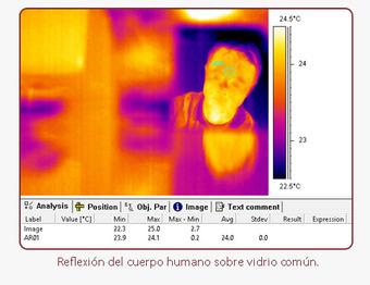 Reflexión del cuerpo humano sobre vidrio común